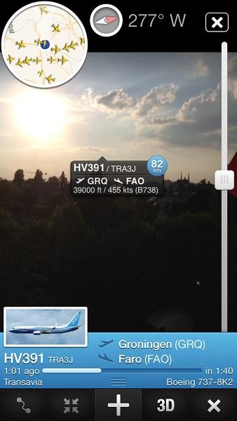 réalité augmentée depuis ma terrasse Flightradar24