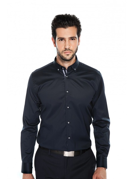 chemise bleu marine coupe slim | Father and Sons