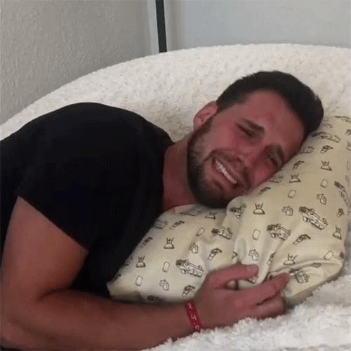 crying hugging pillow gif crying huggingpillow hugs discover share gifs