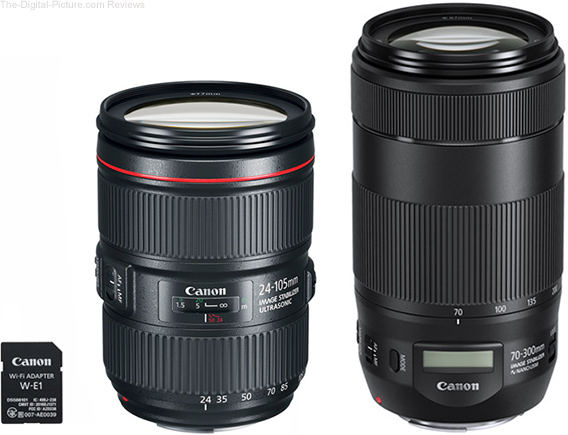 Where are the Canon W-E1 Wi-Fi Adapter & EF 24-105L IS II / EF 70-300 IS II Lenses?