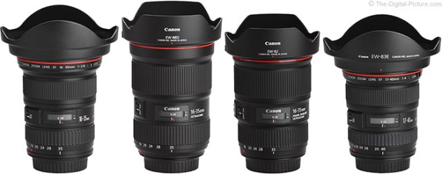 Canon EF 16-35mm f/2.8L III USM Lens Compared to Similar Lenses with Hoods