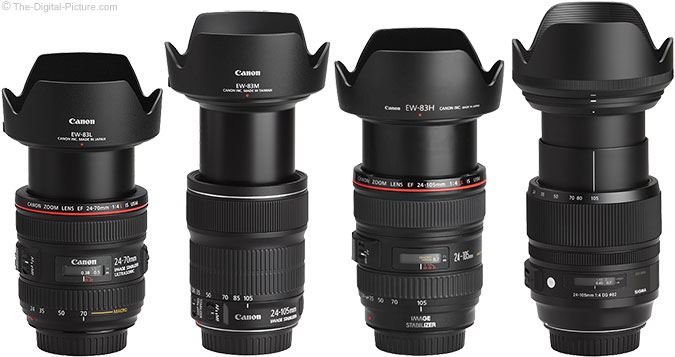 Canon EF 24-105mm f/3.5-5.6 IS STM Lens Compared to Similar Lenses with Hoods