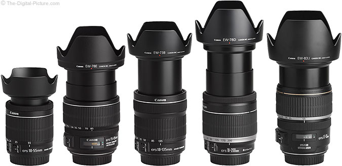 Canon EF-S 18-55mm f/3.5-5.6 IS STM Lens Compared to Similar Lenses with Hoods