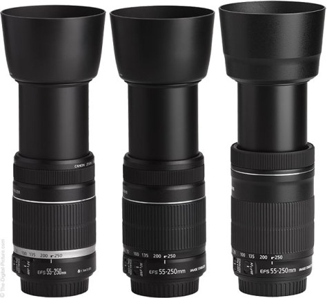 Three Generations of Canon EF-S 55-250mm IS Lenses with Hoods