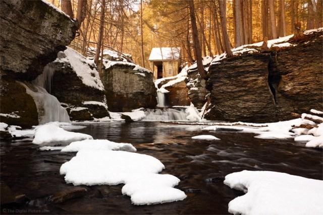 Historic Aspinall Water Wheel House, Adams Creek Falls, Ice and Snow