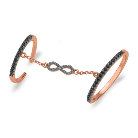 Rosvergoldeter Ring Unendlichkeitssymbol Silber SR0328