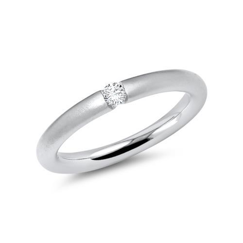 Mattierter 14 Karat Weissgold Ring mit Diamant DR0030