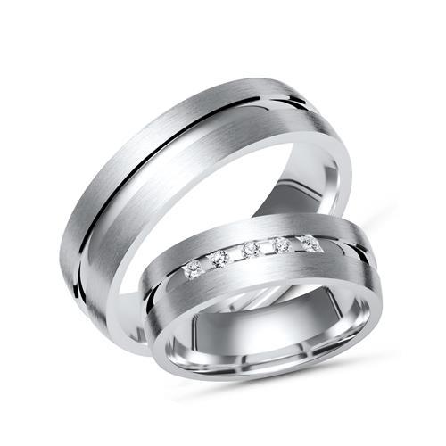 Trauringe 925 Silber Partnerringe Zirkonia R8528s