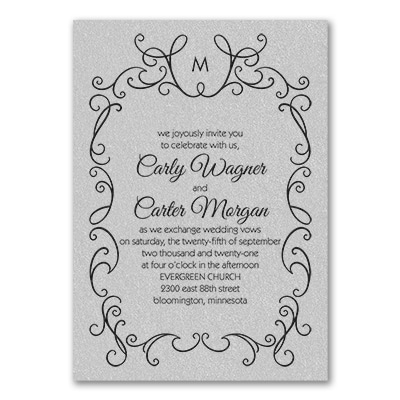 whimsical scrolls invitation silver
