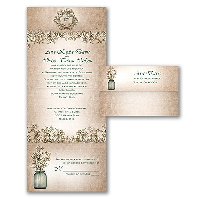 Sweet Rustic  Seal n Send Invitation  On Trend  The