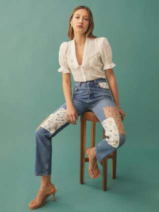 Colorado Fairy Linen Cynthia Linen Patch High Rise Straight Jeans