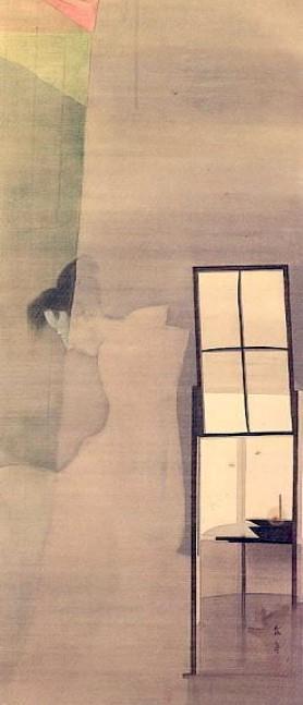 怖い絵 蚊帳の前に座る幽霊