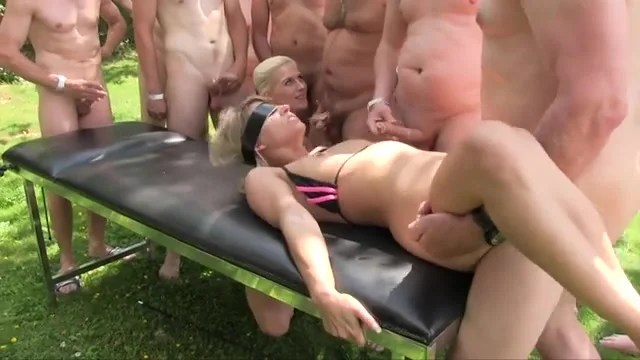 Blindfolded Cum Slut Fucked In An Outdoor Gangbang