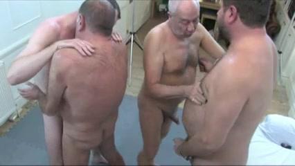 Four Mature Guys Enjoy A Gay Orgy