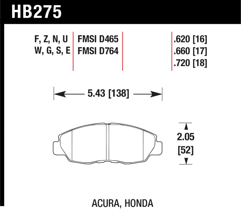 Hawk HB275B.620 'Performance Street' Brake Pads