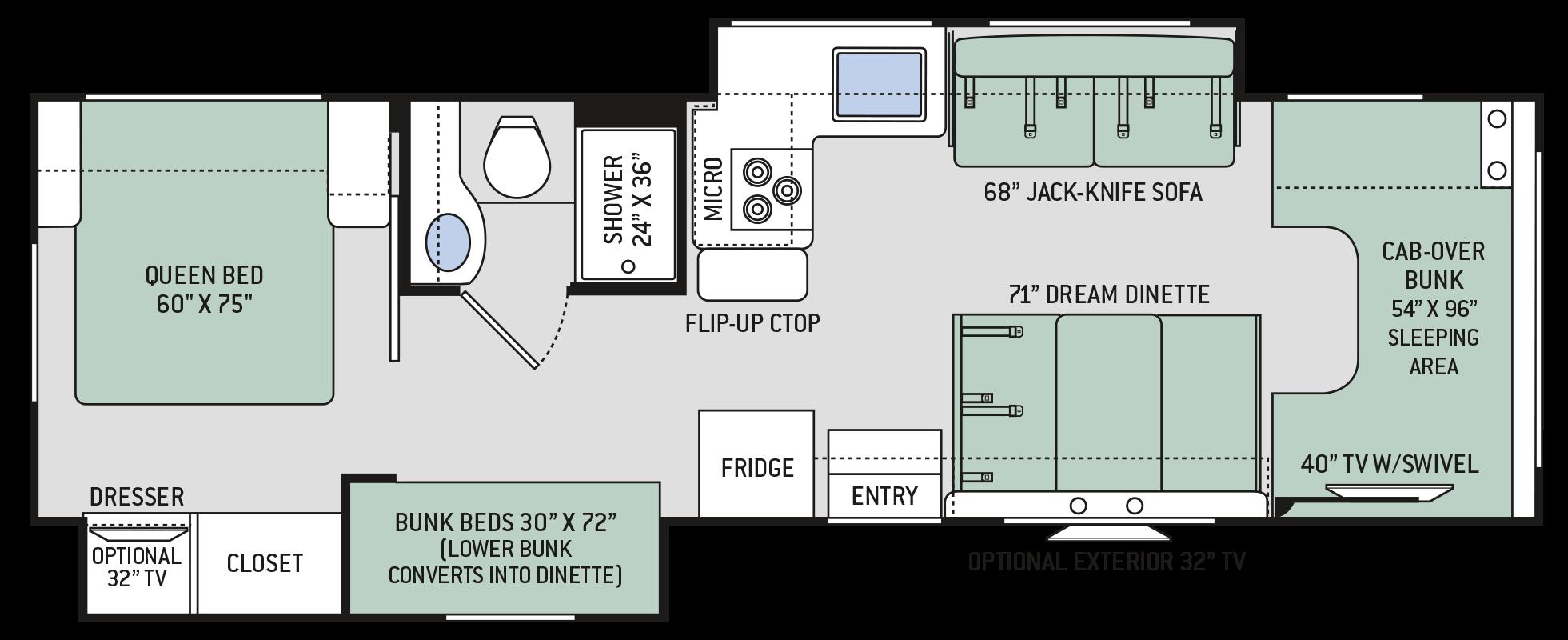 Chateau Class C Motorhomes  Floor Plan 30D  Thor Motor
