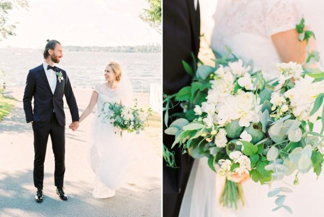 brudbukett i vitt och grön av The Wild Rose