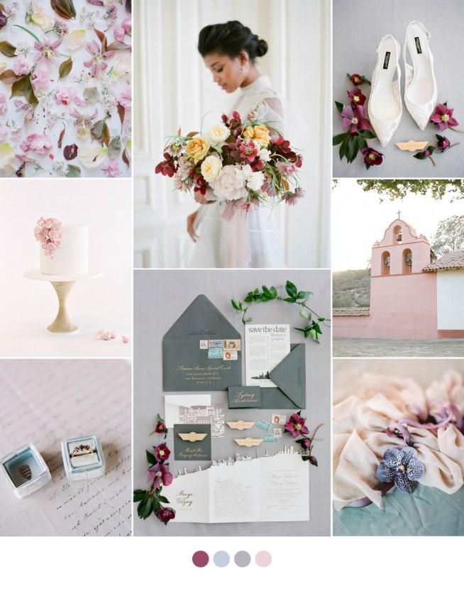 Bröllopsmoodboard i Blush och Plum
