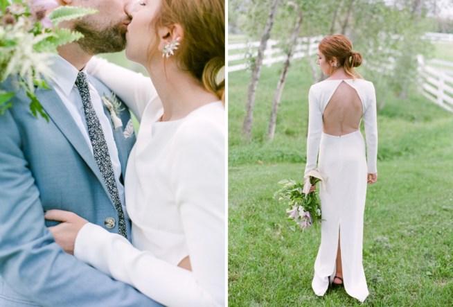 modern brudklänning med öppen rygg