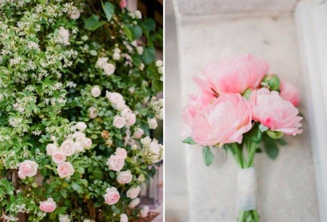 brudbukett med rosa pioner