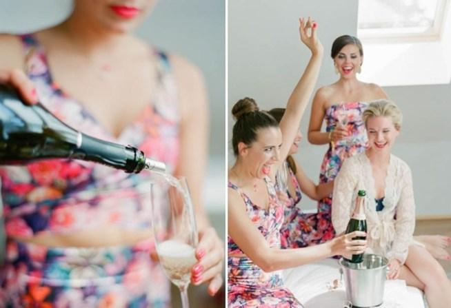 Förberedelser med champagne på bröllopsdagen