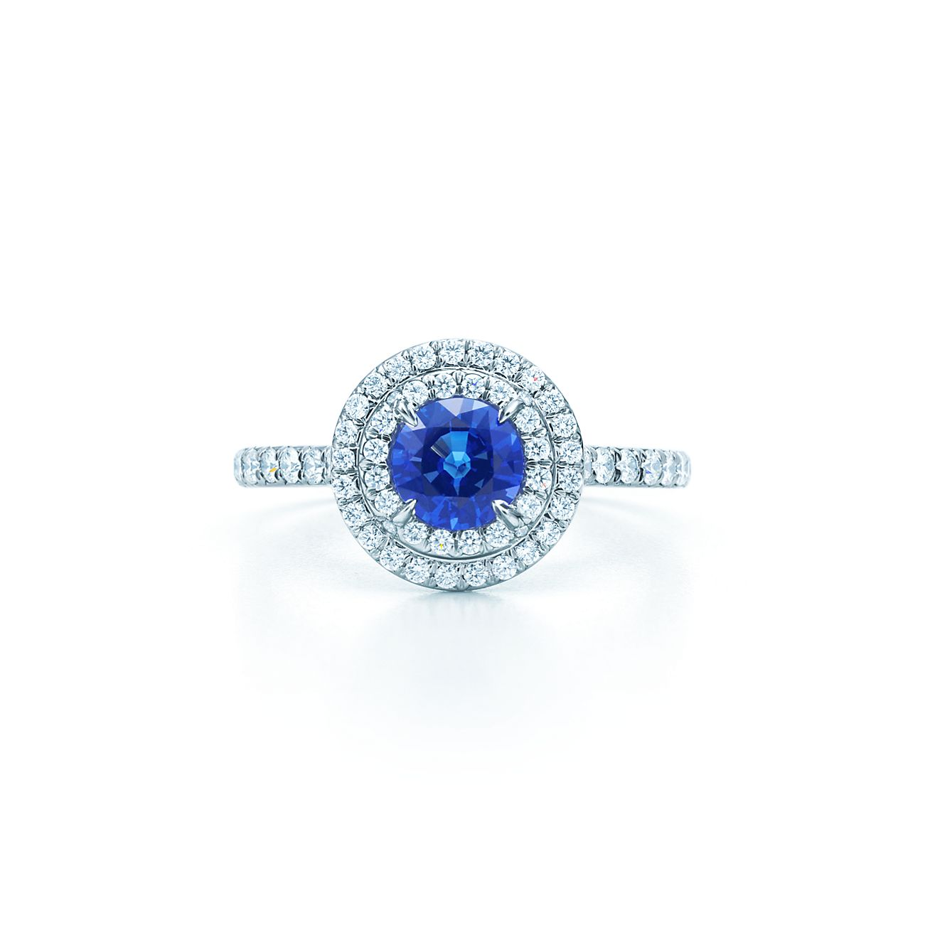 Tiffany Soleste ring in platinum with a 45carat sapphire and diamonds  Tiffany  Co