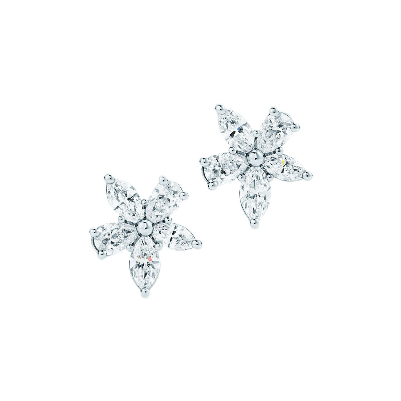 Tiffany Victoria mixed cluster earrings in platinum with