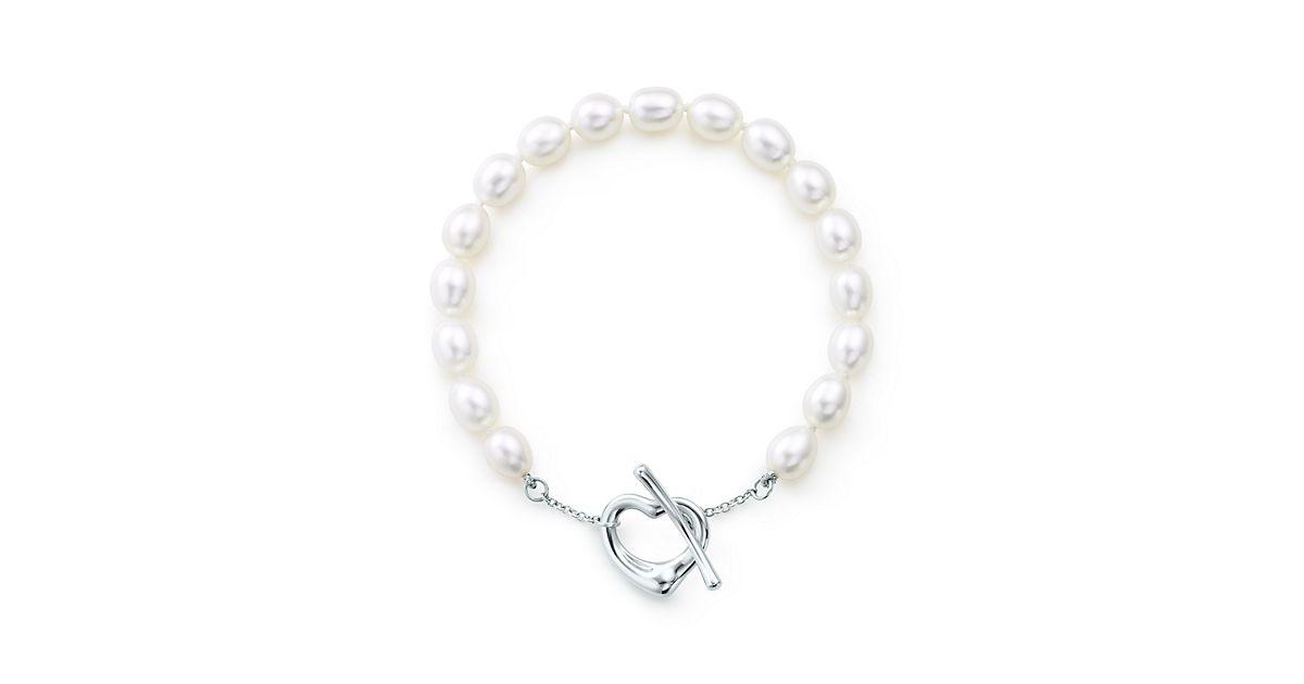 Elsa Peretti Open Heart Pearl Bracelet In Sterling Silver