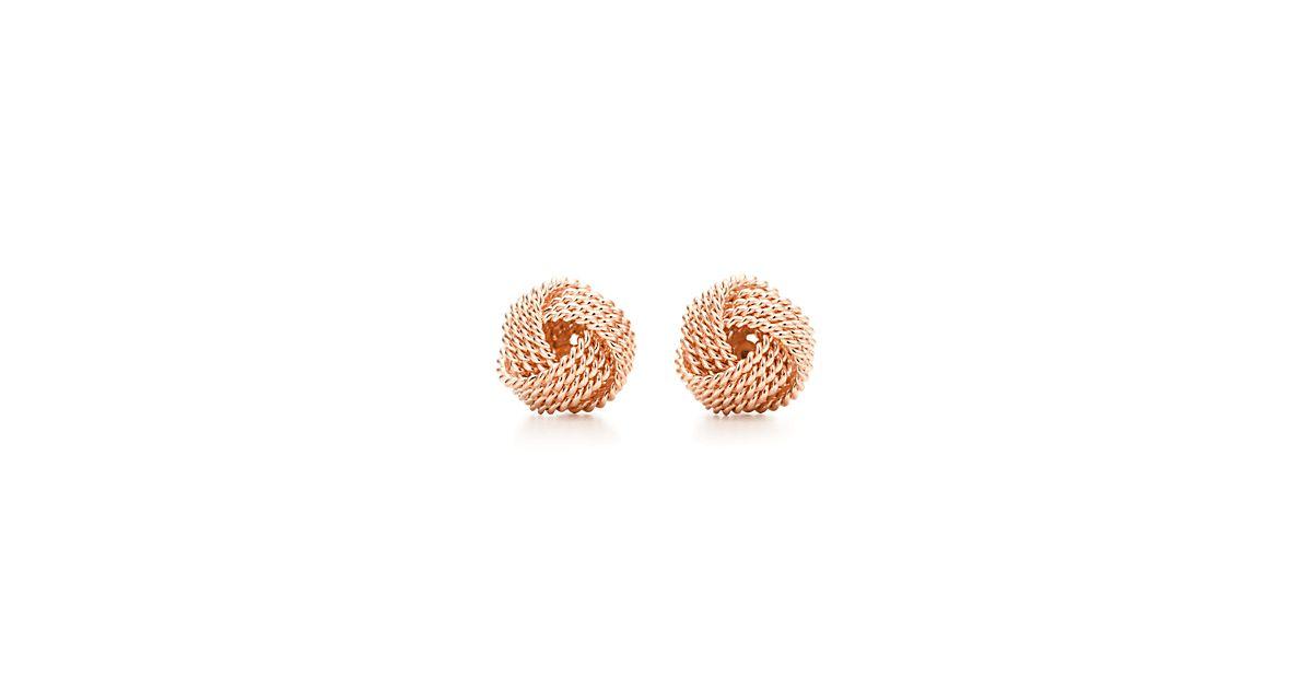 Tiffany Twist knot earrings in 18k rose gold.