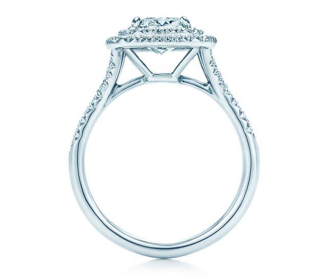 Tiffany Soleste Cushion Cut Halo Diamond With Diamond Band Engagement Rings Tiffany Co
