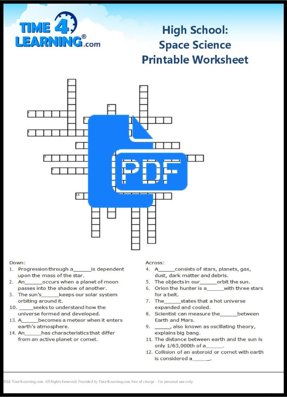 medium resolution of free space science printable worksheet