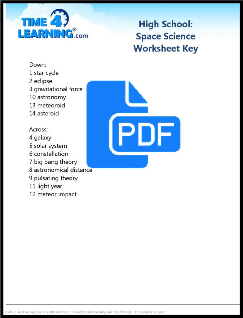 hight resolution of Free Printable: High School Space Science Worksheet   Time4Learning