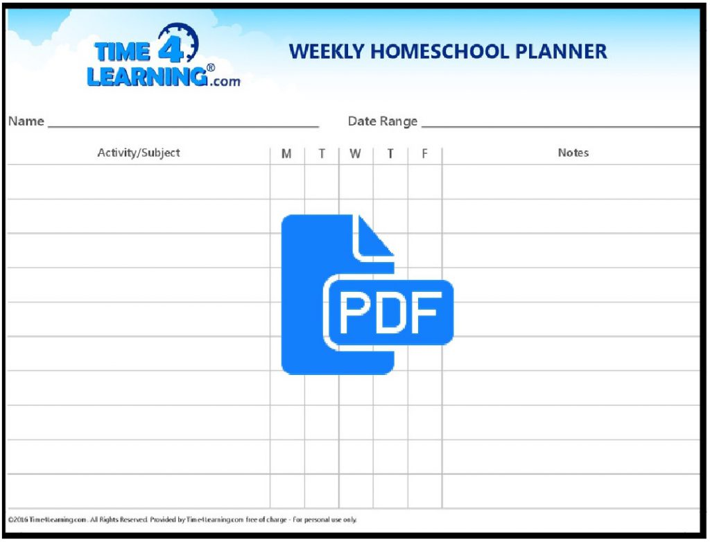 hight resolution of Free Printable: Weekly Homeschool Planner   Time4Learning