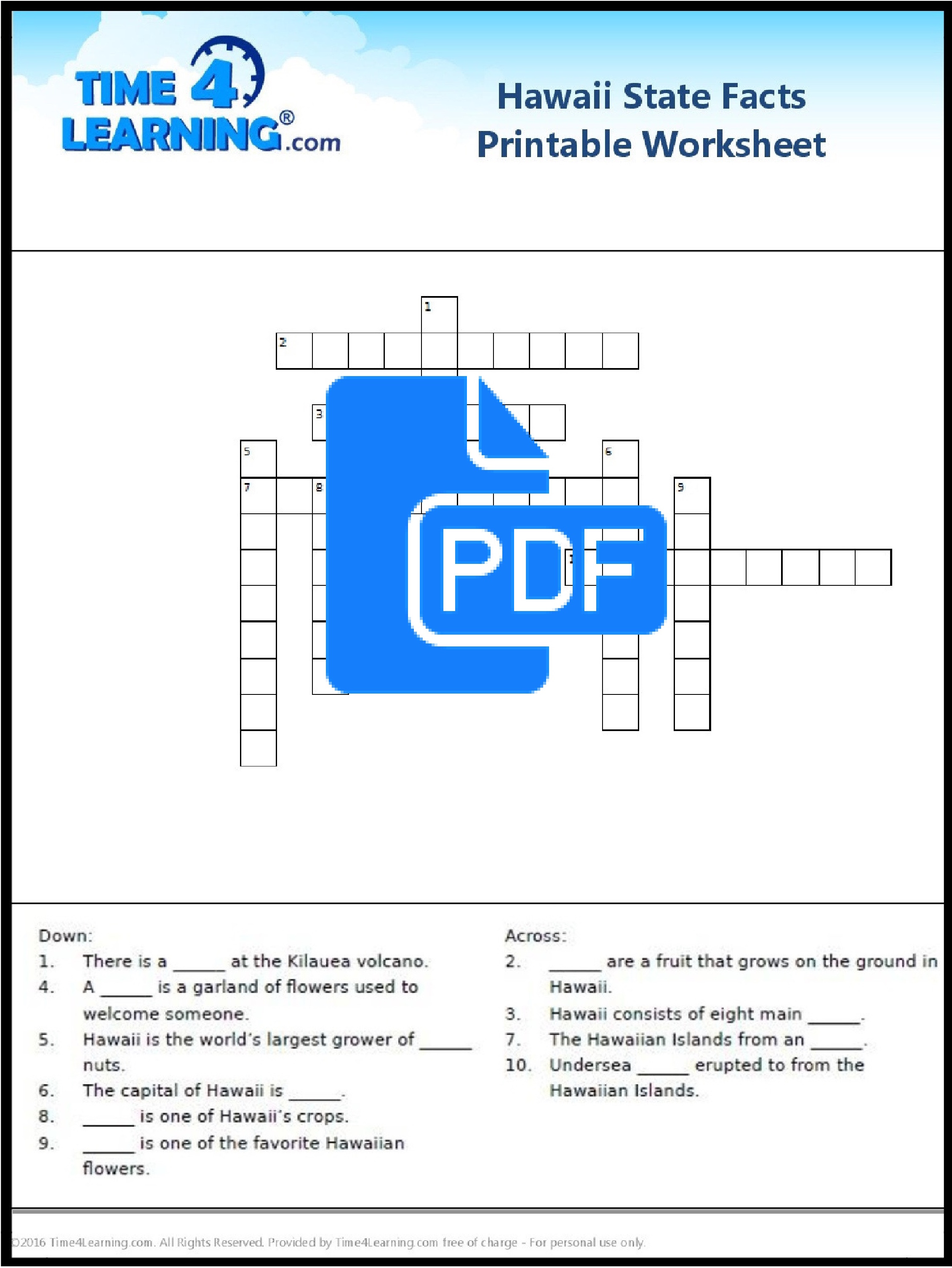 Free Printable Hawaii State Facts Crossword