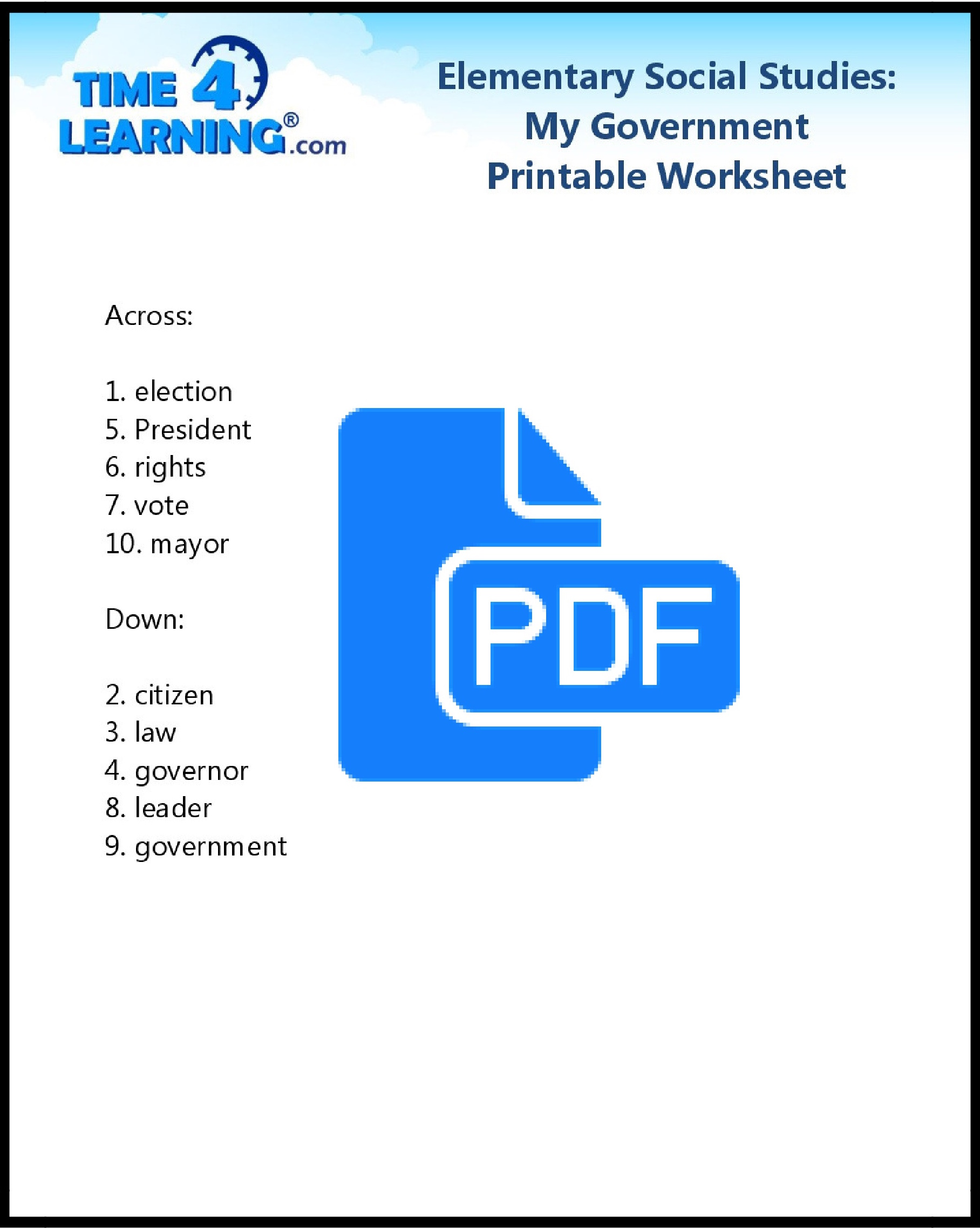 hight resolution of Free Printable: Elementary Social Studies Worksheet   Time4Learning