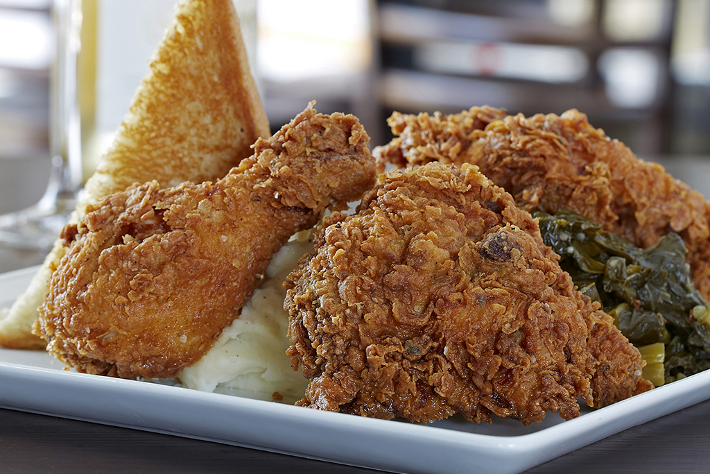 Fried Chicken Eyed Black Greens And And Collard Fried Peas Okra And
