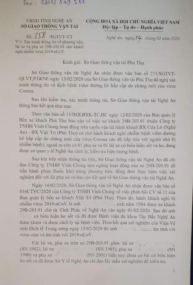 Thông tin mới vụ xe khách Phú Thọ - Nghệ An nghi có hành khách nhiễm Covid-19 2