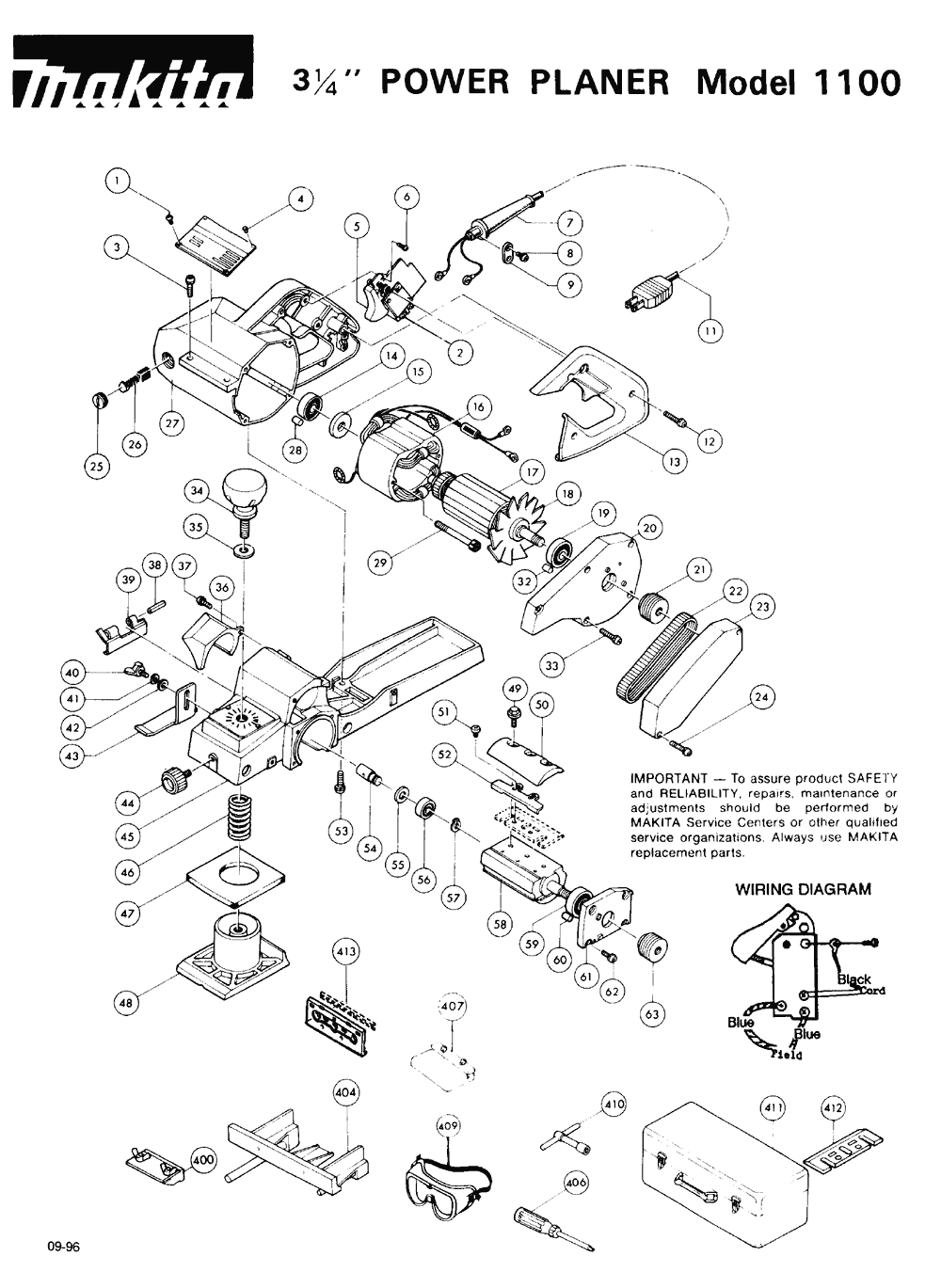 hight resolution of makita 1100 parts schematic