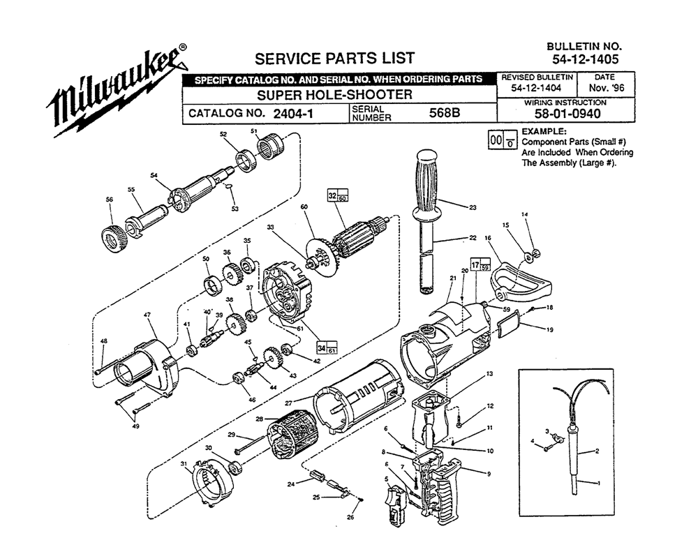 Buy Milwaukee 2404-1-(568B) Replacement Tool Parts