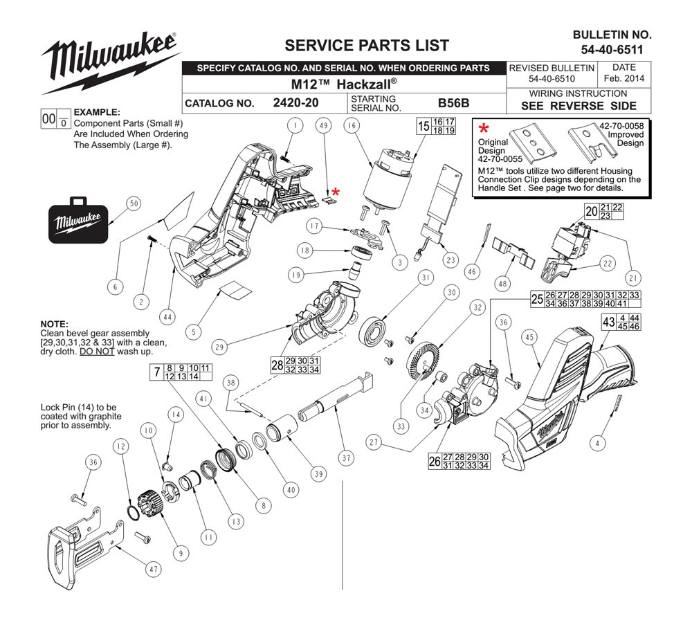Buy Milwaukee 2420-20-(B56B) Replacement Tool Parts