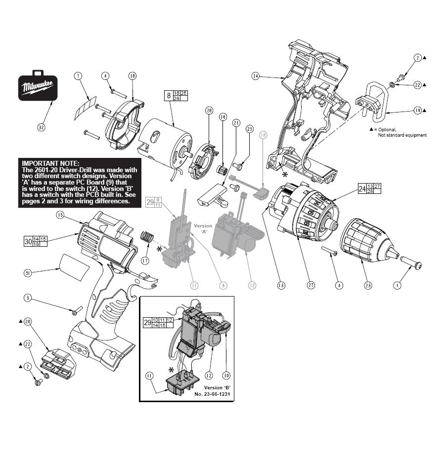 medium resolution of milwaukee 2601 20 parts schematic