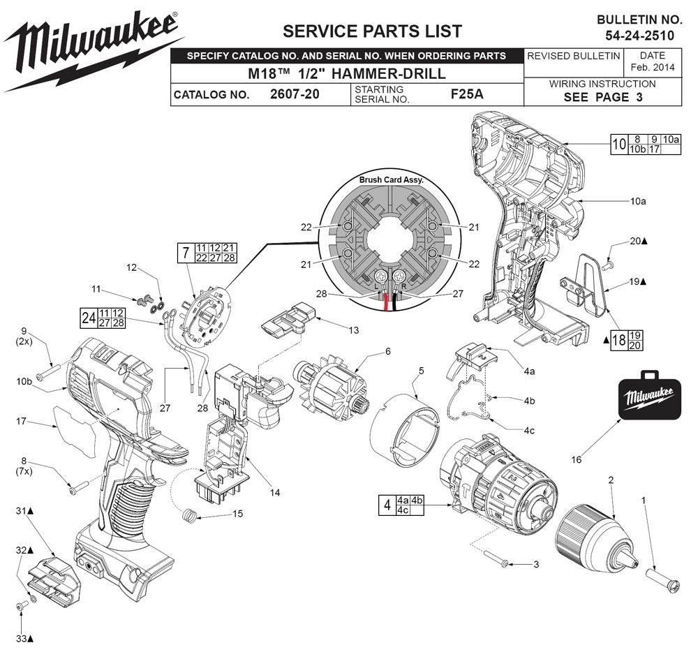 medium resolution of milwaukee 2607 22 f25a parts schematic