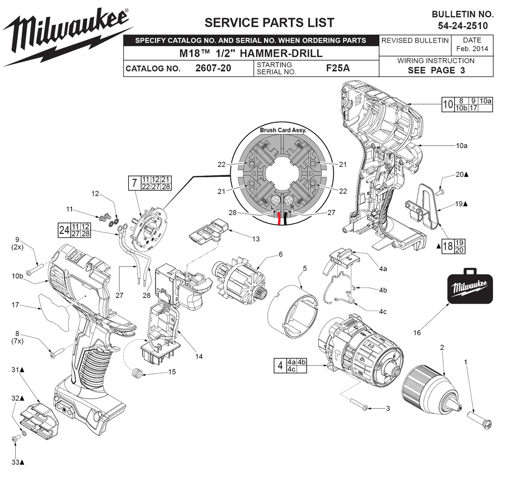 hight resolution of milwaukee 2607 22 f25a parts schematic