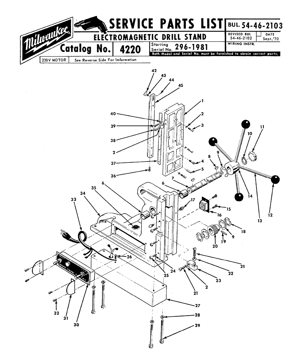 Buy Milwaukee 4220-(296-1981) electromagneticstand