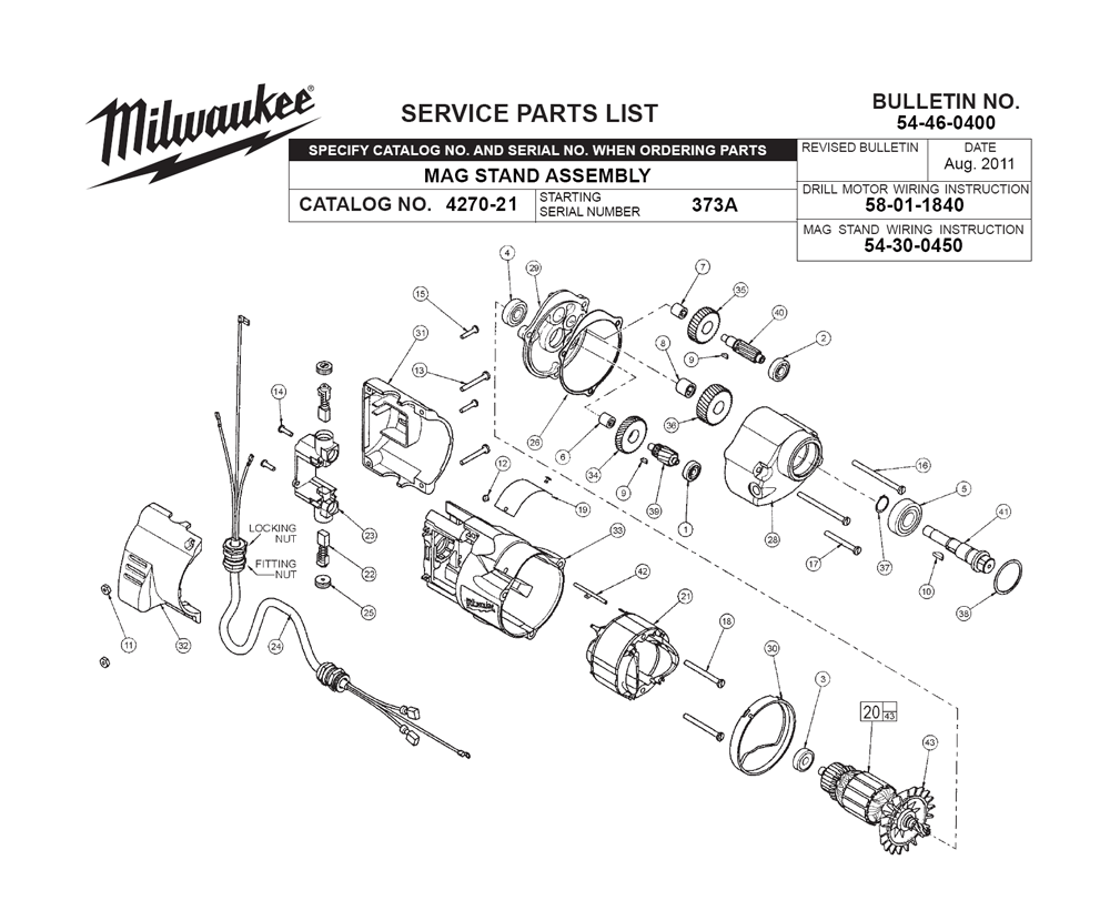 Buy Milwaukee 4270-21-(373A) Replacement Tool Parts