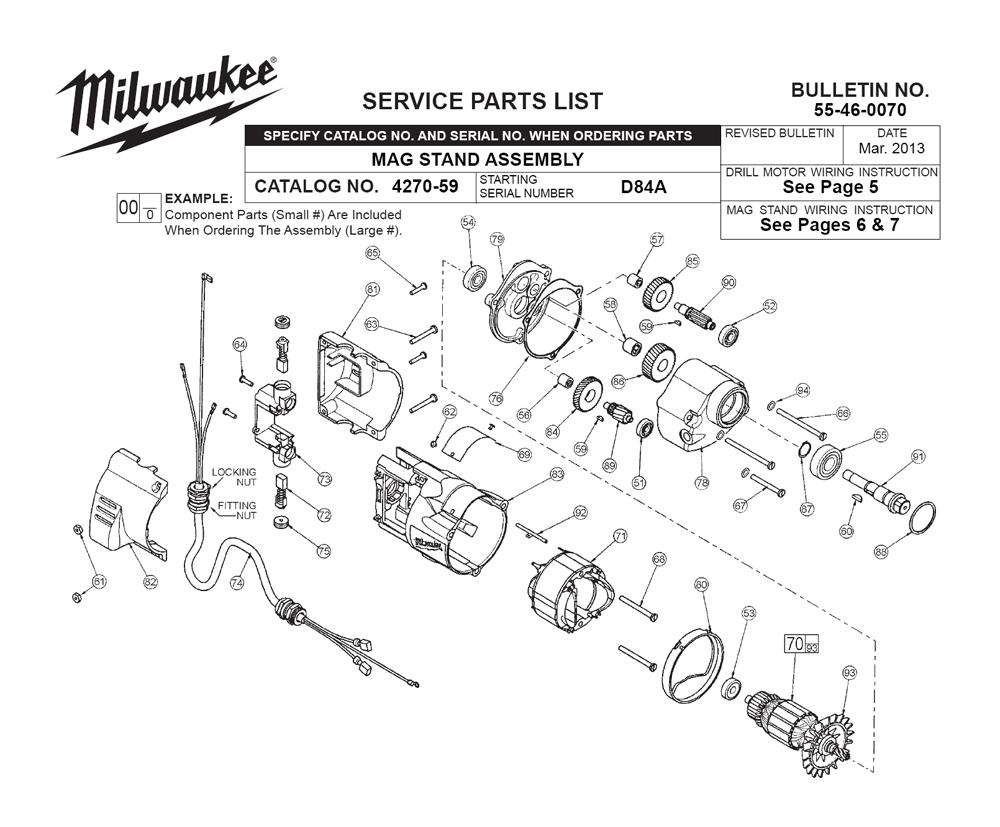 Buy Milwaukee 4270-59-(D84A) Replacement Tool Parts