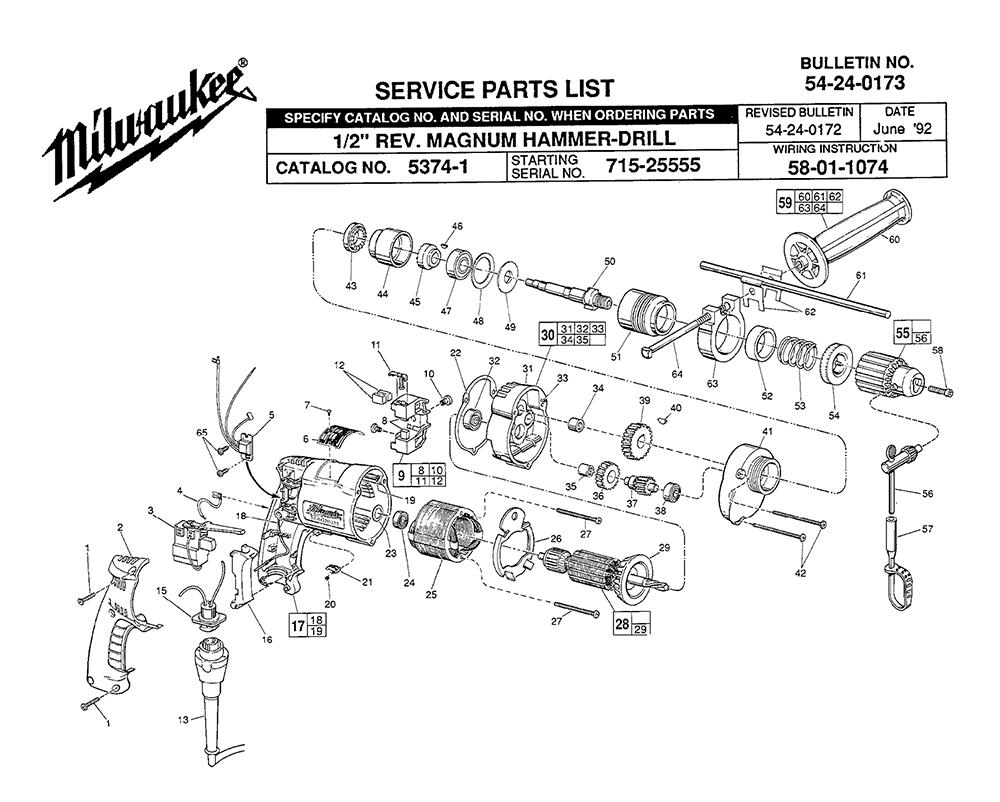 medium resolution of milwaukee 5374 1 715 25555 parts schematic