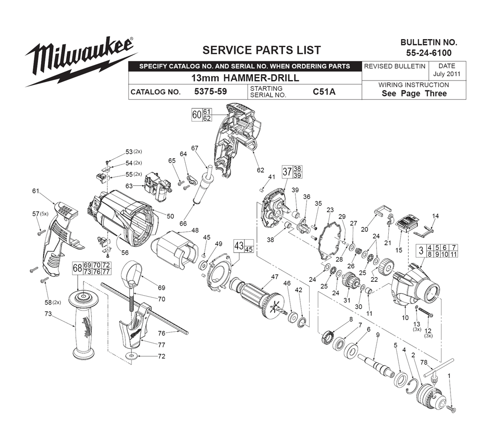 Buy Milwaukee 5375-59-(C51A) Replacement Tool Parts
