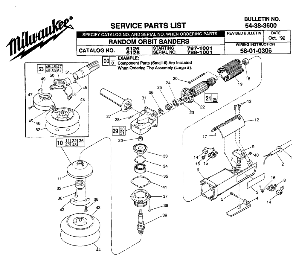 Buy Milwaukee 6125-(787-1001) Replacement Tool Parts