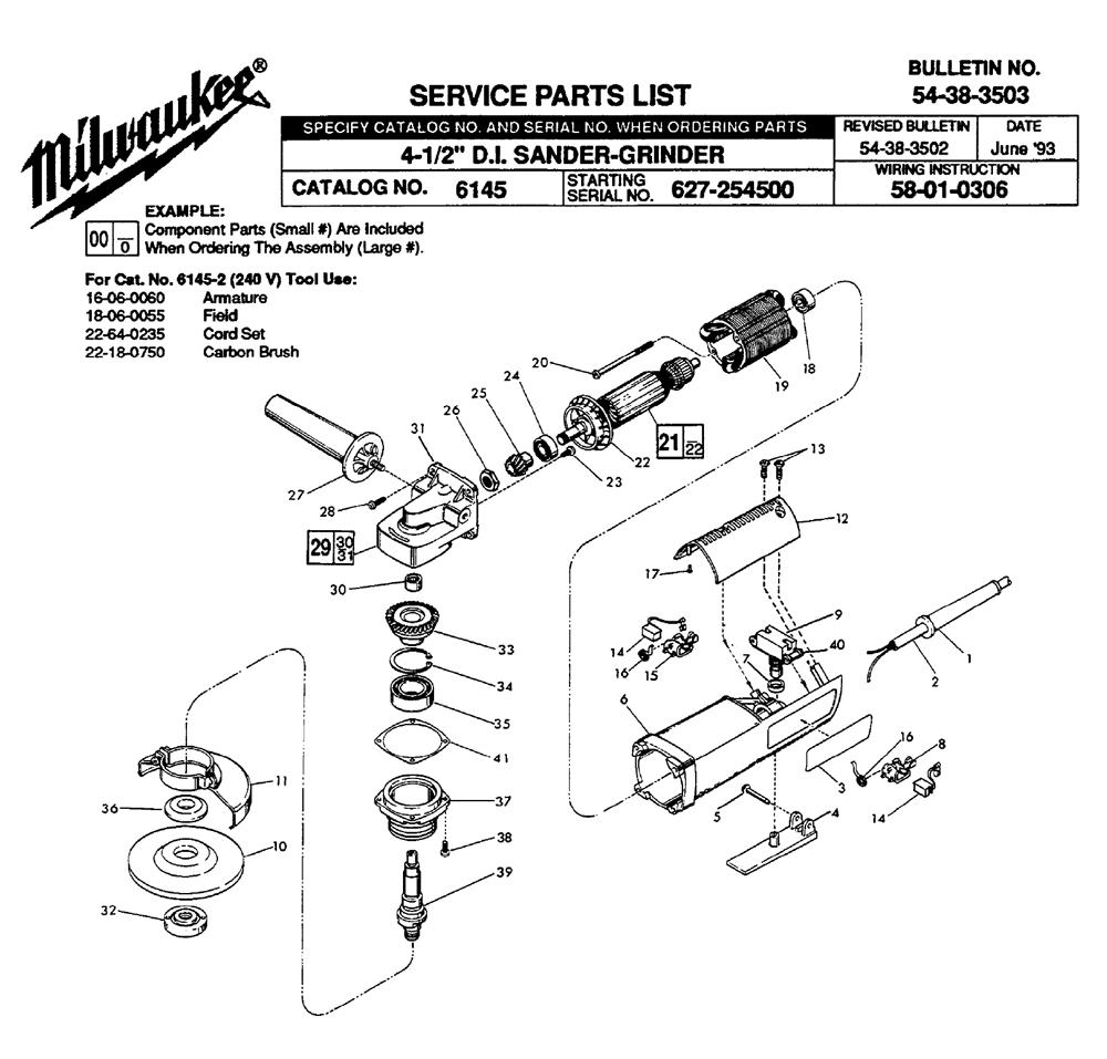 hight resolution of milwaukee 6145 627 254500 parts schematic